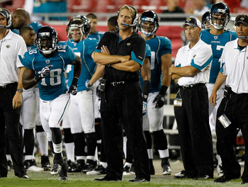 TAMPA, FL - AUGUST 28:  Head coach Jack Del Rio of the Jacksonville Jaguars watches his team play against the Tampa Bay Buccaneers during a preseason game at Raymond James Stadium on August 28, 2010 in Tampa, Florida.  (Photo by J. Meric/Getty Images)
