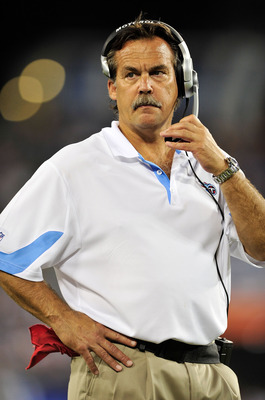NASHVILLE, TN - SEPTEMBER 02:  Coach Jeff Fisher of the Tennessee Titans watches during an exhibition game against the New Orleans Saints at LP Field on September 2, 2010 in Nashville, Tennessee. Tennessee won 27-24.  (Photo by Grant Halverson/Getty Image