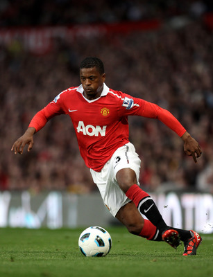 MANCHESTER, ENGLAND - AUGUST 16:  Patrice Evra of Manchester United in action during the Barclays Premier League match between Manchester United and Newcastle United at Old Trafford on August 16, 2010 in Manchester, England.  (Photo by Alex Livesey/Getty