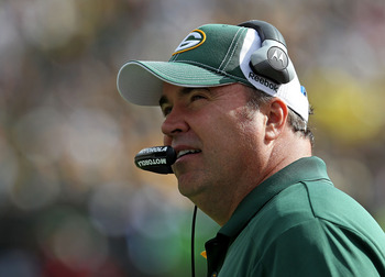 GREEN BAY, WI - SEPTEMBER 19: Head coach Mike McCarthy of the Green Bay Packers watches as his team takes on the Buffalo Bills at Lambeau Field on September 19, 2010 in Green Bay, Wisconsin. The Packers defeated the Bills 34-7. (Photo by Jonathan Daniel/G