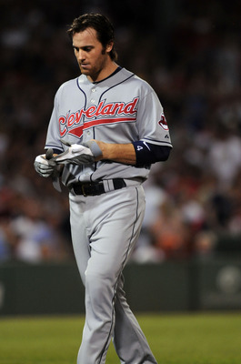 BOSTON, MA - AUGUST 5:  Trevor Crowe #4 of the Cleveland Indians walks off after grounding out against the Boston Red Sox August 5, 2010 at Fenway Park in Boston, Massachusetts. (Photo by Darren McCollester/Getty Images)