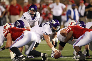 DALLAS - SEPTEMBER 24:  Quarterback Andy Dalton #14 of the TCU Horned Frogs at Gerald J. Ford Stadium on September 24, 2010 in Dallas, Texas.  (Photo by Ronald Martinez/Getty Images)