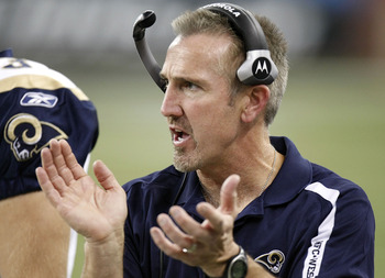 DETROIT , MI - NOVEMBER 01:  Head coach Steve Spagnuolo of the St. Louis Rams looks on while playing the Detroit Lions on November 1, 2009 at Ford Field in Detroit, Michigan. St. Louis won the game 17-10.  (Photo by Gregory Shamus/Getty Images)