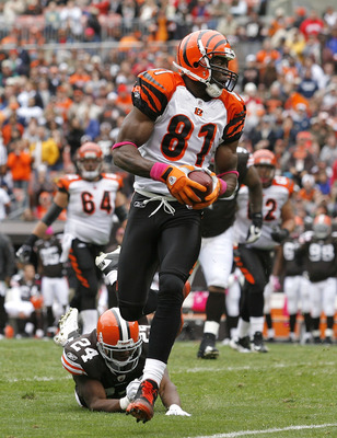 CLEVELAND - OCTOBER 03:  Wide receiver Terrell Owens #81 of the Cincinnati Bengals runs by Sheldon Brown #24 of the Cleveland Browns at Cleveland Browns Stadium on October 3, 2010 in Cleveland, Ohio.  (Photo by Matt Sullivan/Getty Images)