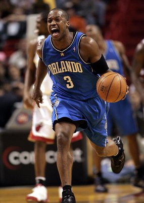 MIAMI - FEBRUARY 14:  Steve Francis #3 of the Orlando Magic moves the ball down court against the Miami Heat February 14, 2006 at the American Airlines Arena in Miami  Florida. NOTE TO USER: User expressly acknowledges and agrees that, by downloading and/
