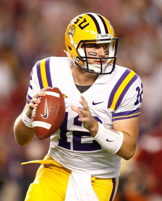TUSCALOOSA, AL - NOVEMBER 07:  Jarrett Lee #12 of the Louisiana State University Tigers against the Alabama Crimson Tide at Bryant-Denny Stadium on November 7, 2009 in Tuscaloosa, Alabama.  (Photo by Kevin C. Cox/Getty Images)