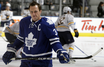 TORONTO - SEPTEMBER 27: Dion Phaneuf #3 of the Toronto Maple Leafs gets his game face on during warmup before a preseason NHL game at the Air Canada Centre September 27, 2010 in Toronto, Ontario, Canada. (Photo by Abelimages/Getty Images)