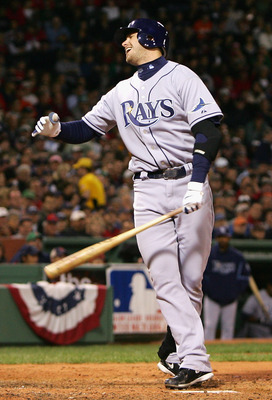 BOSTON - OCTOBER 16:  Evan Longoria #3 of the Tampa Bay Rays reacts after striking out against the Boston Red Sox in the fifth inning of game five of the American League Championship Series during the 2008 MLB playoffs at Fenway Park on October 16, 2008 i