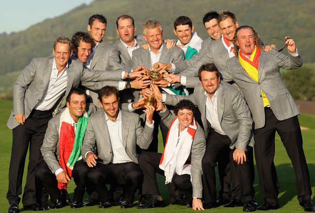 NEWPORT, WALES - OCTOBER 04:  European Team Captain Colin Montgomerie poses with the Ryder Cup and his team following Europe's 14.5 to 13.5 victory over the USA at the 2010 Ryder Cup at the Celtic Manor Resort on October 4, 2010 in Newport, Wales.  (Photo