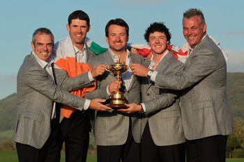 NEWPORT, WALES - OCTOBER 04:  (L-R) European Team members Paul McGinley, Padraig Harrington, Graeme McDowell, Rory McIlroy and Darren Clarke pose with the Ryder Cup following Europe's 14.5 to 13.5 victory over the USA at the 2010 Ryder Cup at the Celtic M
