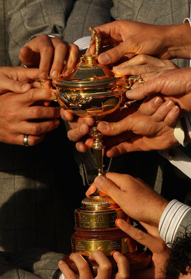 NEWPORT, WALES - OCTOBER 04:  A detail shot of the members of the European Team with the Ryder Cup following Europe's 14.5 to 13.5 victory over the USA at the 2010 Ryder Cup at the Celtic Manor Resort on October 4, 2010 in Newport, Wales.  (Photo by Ross