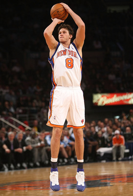 NEW YORK - NOVEMBER 09: Danilo Gallinari #8 of the New York Knicks shoots the ball against the Utah Jazz at Madison Square Garden on November 9, 2009 in New York City. NOTE TO USER: User expressly acknowledges and agrees that, by downloading and or using