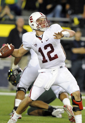 EUGENE, OR - OCTOBER 2: Quarterback Andrew Luck of the Stanford Cardinal sets to throw a pass in the third quarter of the game against the Oregon Ducks at Autzen Stadium on October 2, 2010 in Eugene, Oregon. Oregon won the game 52-31. (Photo by Steve Dyke