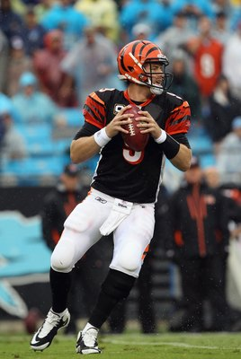 CHARLOTTE, NC - SEPTEMBER 26:  Carson Palmer #9 of the Cincinnati Bengals against the Carolina Panthers during their game at Bank of America Stadium on September 26, 2010 in Charlotte, North Carolina.  (Photo by Streeter Lecka/Getty Images)