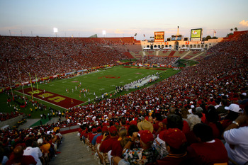 LOS ANGELES, CA - OCTOBER 02:  A general view of the stadium during the game between the Washington Huskies and the USC Trojans at the Los Angeles Memorial Coliseum on October 2, 2010 in Los Angeles, California.  (Photo by Stephen Dunn/Getty Images)