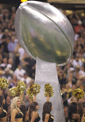NEW ORLEANS - SEPTEMBER 09:  A replica of the Vince Lombardi trophy at Louisiana Superdome on September 9, 2010 in New Orleans, Louisiana.  (Photo by Ronald Martinez/Getty Images)