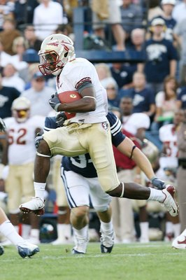 PROVO, UT - SEPTEMBER 19:  Greg Reid #5 of Florida State Seminoles runs the football against Brigham Young University Cougars at La Vell Edwards Stadium on September 19, 2009 in Provo, Utah.  (Photo by Melissa Majchrzak via Getty Images)