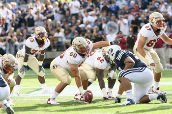 PROVO, UT - SEPTEMBER 19:  Ryan McMahon #60 of Florida State Seminoles calls out the play during the game against Brigham Young University Cougarsat La Vell Edwards Stadium on September 19, 2009 in Provo, Utah.  (Photo by Melissa Majchrzak via Getty Image