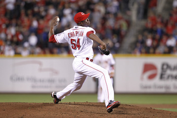 CINCINNATI, OH - SEPTEMBER 28: Aroldis Chapman #54 of the Cincinnati Reds pitches against the Houston Astros at Great American Ball Park on September 28, 2010 in Cincinnati, Ohio. The Reds won 3-2 to clinch the NL Central Division title. (Photo by Joe Rob