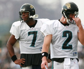 JACKSONVILLE, FL - JULY 31:  Quaterback Byron Leftwich #7 of the Jacksonville Jaguars looks the other way as Tim Couch #2 goes through reps during training camp at Alltel Stadium practice facililty on July 31, 2007 in Jacksonville, Florida.  (Photo by Dou
