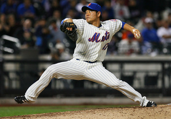NEW YORK - SEPTEMBER 15:  Hisanori Takahashi #47 of the New York Mets pitches against the Pittsburgh Pirates on September 15, 2010 at Citi Field in the Flushing neighborhood of the Queens borough of New York City.  (Photo by Andrew Burton/Getty Images)