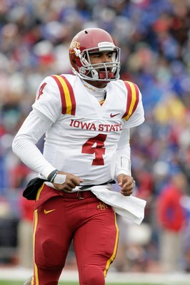 LAWRENCE, KS - OCTOBER 10:  Austen Arnaud #4 of the Iowa State Cyclones looks on during the game against the Kansas Jayhawks on October 10, 2009 at Memorial Stadium in Lawrence, Kansas. (Photo by Jamie Squire/Getty Images)