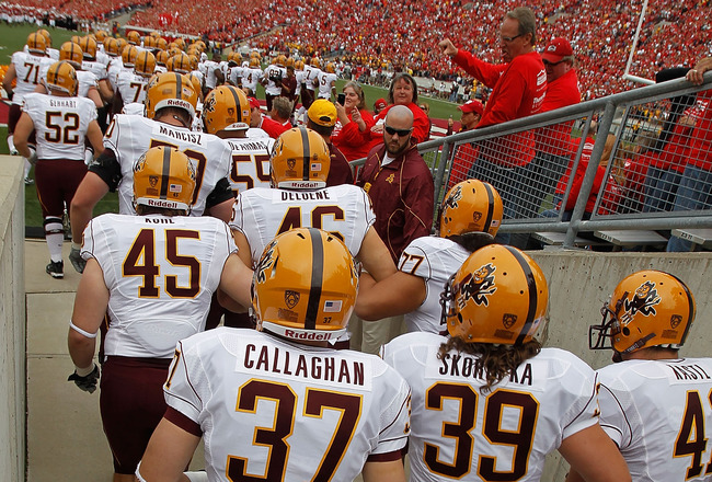 MADISON, WI - SEPTEMBER 18: Members of the Arizona State Sun Devils enter the field before a game against the Wisconsin Badgers at Camp Randall Stadium on September 18, 2010 in Madison, Wisconsin. Wisconsin defeated Arizona State 20-19.  (Photo by Jonatha