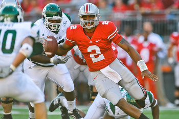 COLUMBUS, OH - SEPTEMBER 25:  Terrelle Pryor #2 of the Ohio State Buckeyes runs with the ball against the Eastern Michigan Eagles at Ohio Stadium on September 25, 2010 in Columbus, Ohio.  Ohio State won 73-20. (Photo by Jamie Sabau/Getty Images)