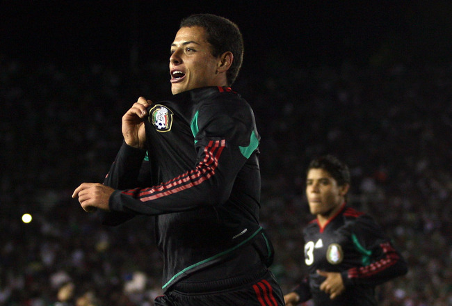 PASADENA, CA - MARCH 03:  Javier Hernandez #9 of Mexico celebrates his second half goal against New Zealand during their International Friendly match at the Rose Bowl on March 3, 2010 in Pasadena, California.  Mexico defeated New Zealand 2-0. (Photo by Vi