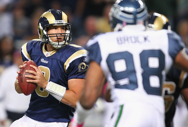 ST. LOUIS - OCTOBER 3: Sam Bradford #8 of the St. Louis Rams looks to pass against the Seattle Seahawks at the Edward Jones Dome on October 3, 2010 in St. Louis, Missouri.  The Rams beat the Seahawks 20-3.  (Photo by Dilip Vishwanat/Getty Images)