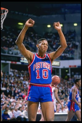 1989:  Forward Dennis Rodman celebrates during a game. Mandatory Credit: Otto Greule Jr.  /Allsport