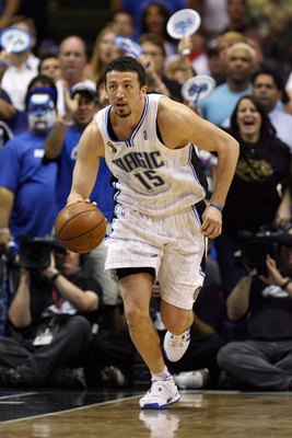 ORLANDO, FL - JUNE 11:  Hedo Turkoglu #15 of the Orlando Magic moves the ball up court in Game Four of the 2009 NBA Finals against the Los Angeles Lakers at Amway Arena on June 11, 2009 in Orlando, Florida.  The Lakers won 99-91 in overtime and lead the s