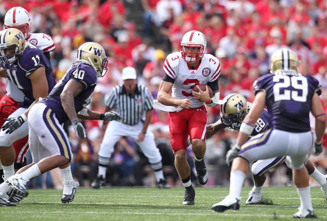 SEATTLE - SEPTEMBER 18: Quarterback Taylor Martinez #3 of the Nebraska Cornhuskers rushes against the Washington Huskies on September 18, 2010 at Husky Stadium in Seattle, Washington. (Photo by Otto Greule Jr/Getty Images)