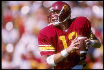 7 Oct 1989:  Quarterback Todd Marinovich of the USC Trojans drops back to pass during a game against the Washington Huskies at the Los Angeles Memorial Coliseum in Los Angeles, California.  USC won the game 24-16. Mandatory Credit: Stephen Dunn  /Allsport