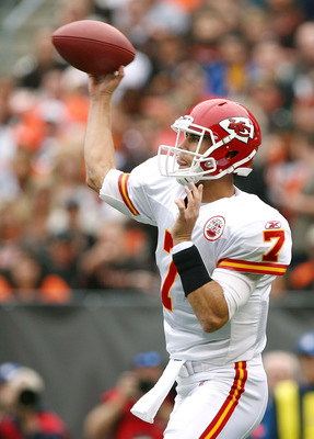 CLEVELAND - SEPTEMBER 19:  Quarterback Matt Cassel #7 of the Kansas City Chiefs throws to a receiver against the Cleveland Browns at Cleveland Browns Stadium on September 19, 2010 in Cleveland, Ohio.  (Photo by Matt Sullivan/Getty Images)