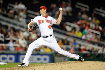 WASHINGTON - SEPTEMBER 29:  Doug Slaten #45 of the Washington Nationals pitches against the Philadelphia Phillies at Nationals Park on September 29, 2010 in Washington, DC.  (Photo by Greg Fiume/Getty Images)