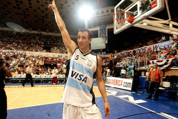 SAN JUAN, PUERTO RICO - AUGUST 30:  ***PUERTO RICO OUT, INTERNET OUT ***  Argentinian player Emanuel Ginobili #5 celebrates after Argentina defeated Canada 88-72 for the semifinal Olympic qualifying game between Canada and Argentina on August 30, 2003 at