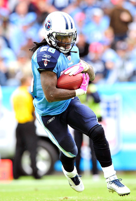 NASHVILLE, TN - OCTOBER 03:  Chris Johnson #28 of the Tennessee Titans runs against the Denver Broncos at LP Field on October 3, 2010 in Nashville, Tennessee. Denver won 26-20.  (Photo by Grant Halverson/Getty Images)