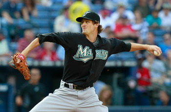 ATLANTA - SEPTEMBER 29:  Starting pitcher Andrew Miller #23 of the Florida Marlins pitches in the first inning to the Atlanta Braves at Turner Field on September 29, 2010 in Atlanta, Georgia.  (Photo by Kevin C. Cox/Getty Images)