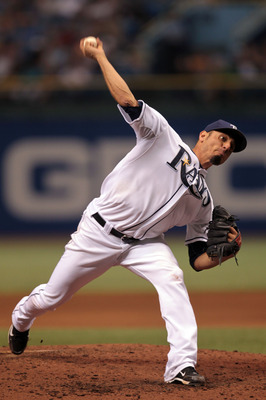 ST PETERSBURG, FL - SEPTEMBER 25: Pitcher Matt Garza #22 of the Tampa Bay Rays delivers a pitch against the Seattle Mariners at Tropicana Field on September 25, 2010 in St. Petersburg, Florida. (Photo by Eliot J. Schechter/Getty Images)