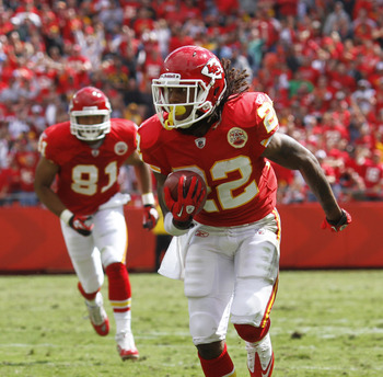 KANSAS CITY, MO - SEPTEMBER 26: Dexter McCluster #22 of the Kansas City Chiefs runs downfield with a 31-yard touchdown reception against the San Francisco 49ers at Arrowhead Stadium on September 26, 2010 in Kansas City, Missouri. The Chiefs won 31-10. (Ph