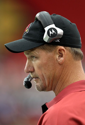 GLENDALE, AZ - SEPTEMBER 26:  Head coach Ken Whisenhunt of the Arizona Cardinals watches from the sidelines during the NFL game against the Oakland Raiders at the University of Phoenix Stadium on September 26, 2010 in Glendale, Arizona.  The Cardinals def