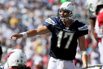 SAN DIEGO - OCTOBER 03:  Quarterback Philip Rivers of the San Diego Chargers calls signals against the Arizona Cardinals at Qualcomm Stadium on October 3, 2010 in San Diego, California.   The Chargers won 41-10.  (Photo by Stephen Dunn/Getty Images)