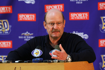 EDEN PRAIRIE, MN - OCTOBER 6: Minnesota Vikings head coach Brad Childress answers questions from the media during a press conference at Winter Park on October 6, 2010 in Eden Prairie, Minnesota. Childress made it official that the Vikings signed wide rece