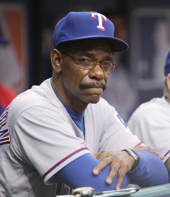ST PETERSBURG, FL - OCTOBER 06:  6:  Manager Ron Washington of the Texas Rangers waits in the dugout during Game 1 of the ALDS against the Tampa Bay Rays at Tropicana Field on October 6, 2010 in St. Petersburg, Florida.  (Photo by Mike Ehrmann/Getty Image