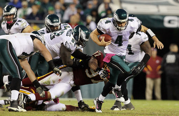 PHILADELPHIA - OCTOBER 03:  Kevin Kolb #4 of the Philadelphia Eagles breaks free for a second half first down against the Washington Redskins on October 3, 2010 at Lincoln Financial Field in Philadelphia, Pennsylvania.  (Photo by Jim McIsaac/Getty Images)