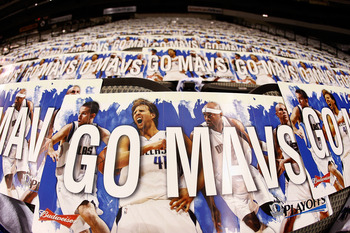 DALLAS - APRIL 18:  Signs for the Dallas Mavericks sit on the seats before a game with the San Antonio Spurs in Game One of the Western Conference Quarterfinals during the 2010 NBA Playoffs at American Airlines Center on April 18, 2010 in Dallas, Texas. N