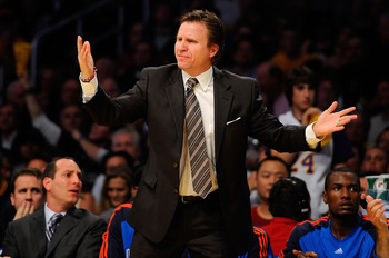 LOS ANGELES, CA - APRIL 27:  Head coach Scott Brooks of the Oklahoma City Thunder reacts in the first half during Game Two of the Western Conference Quarterfinals of the 2010 NBA Playoffs against the Los Angeles Lakers at Staples Center on April 27, 2010