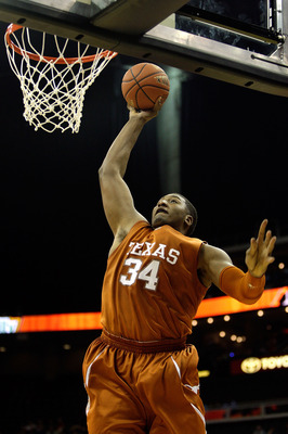 KANSAS CITY, MO - NOVEMBER 23:  Dexter Pittman #34 of the Texas Longhorns goes in for a dunk during the CBE Classic semifinal game against the Iowa Hawkeyes on November 23, 2009 at Sprint Center in Kansas City, Missouri.  (Photo by Jamie Squire/Getty Imag