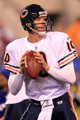 EAST RUTHERFORD, NJ - OCTOBER 03:  Todd Collins #10 of the Chicago Bears drops back to pass against the New York Giants at New Meadowlands Stadium on October 3, 2010 in East Rutherford, New Jersey.  (Photo by Chris McGrath/Getty Images)